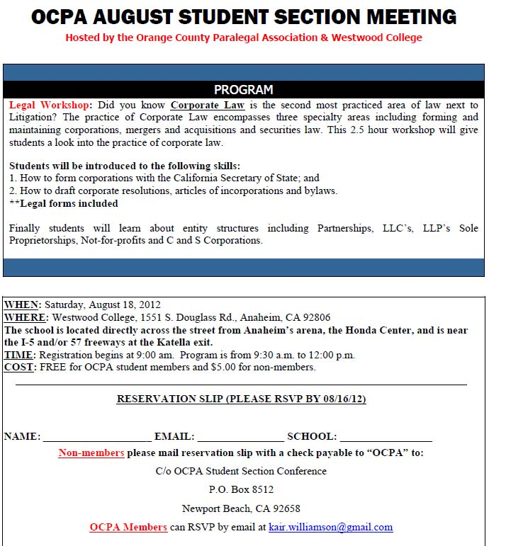 OCPA Corporate Law Workshop at Westwood College | Fremont College on sample statement of information ca, california statement of information form, sample quality policy statements,