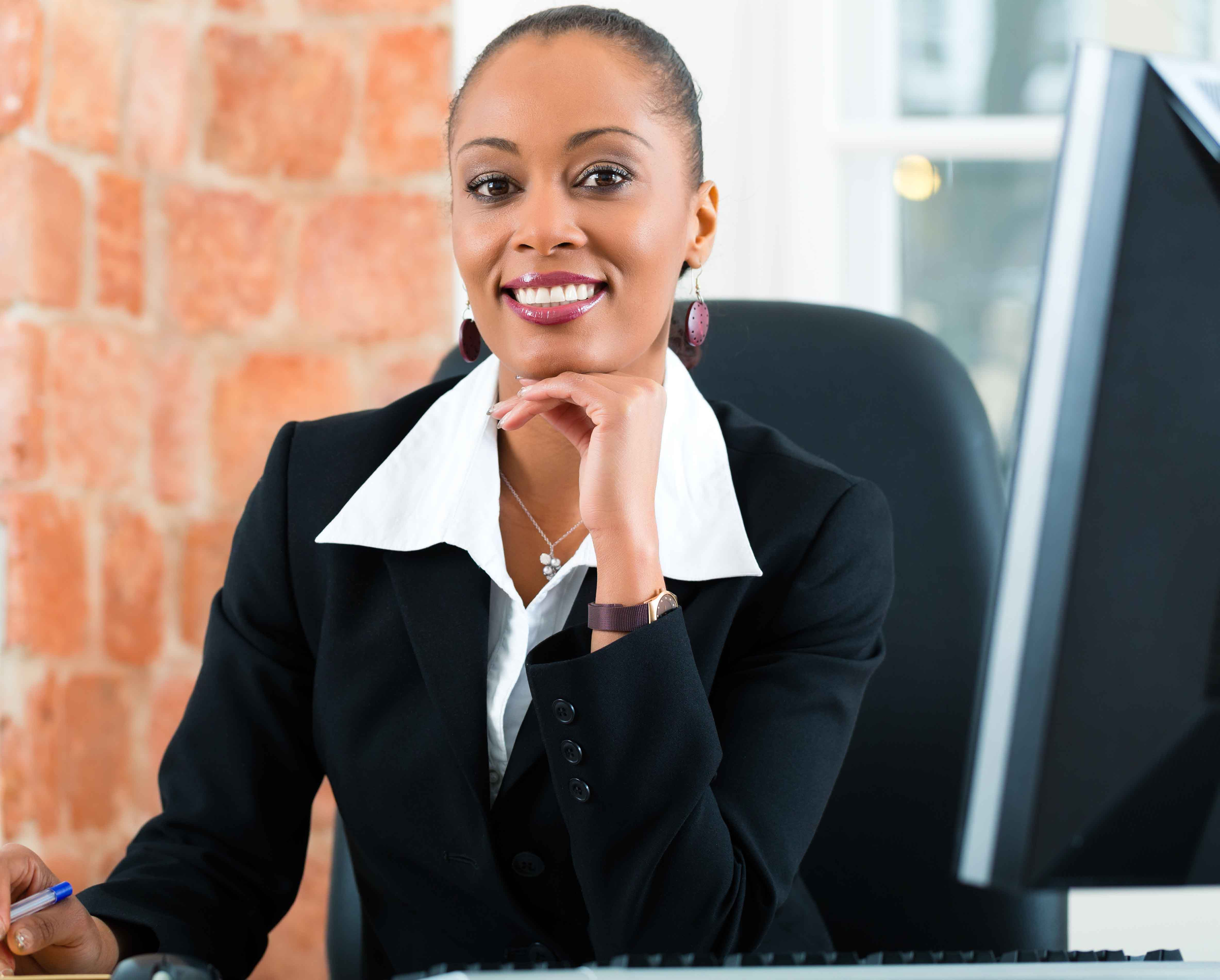 Paralegal working at her desk
