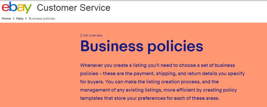 ebay business policies